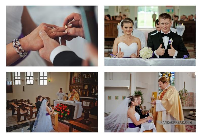 Zdjęcia ślubne przedstawiają takie ważne momenty jak zakładanie obrączek i przyjmowanie komunii